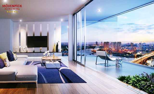 Một góc căn hộ cao cấp Movenpick Đà Nẵng cho cảnh nhìn sông, núi, thành phố